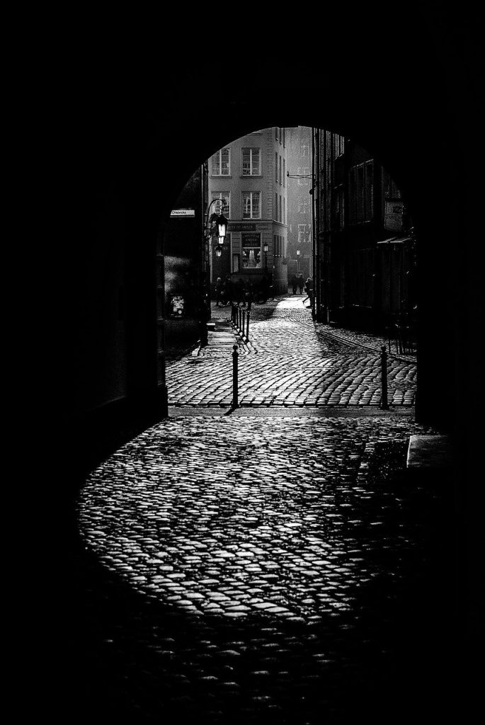 black and white, dark alley, the old town